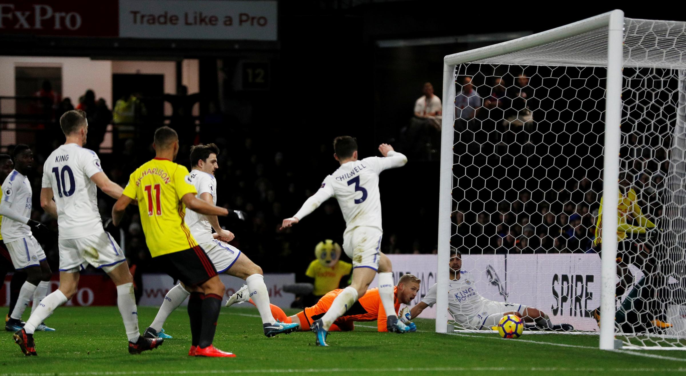 Abdoulaye Doucoure was not enjoying his best Watford performance before Kasper Schmeichel turned his shot over the line. Picture: Action Images