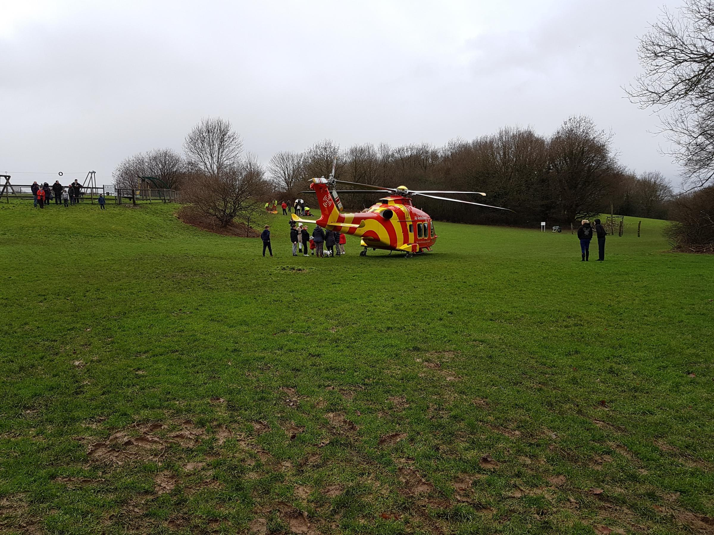 An air ambulance landed in Asburnham playpark on New Year's Day. Photo by Stephen King.