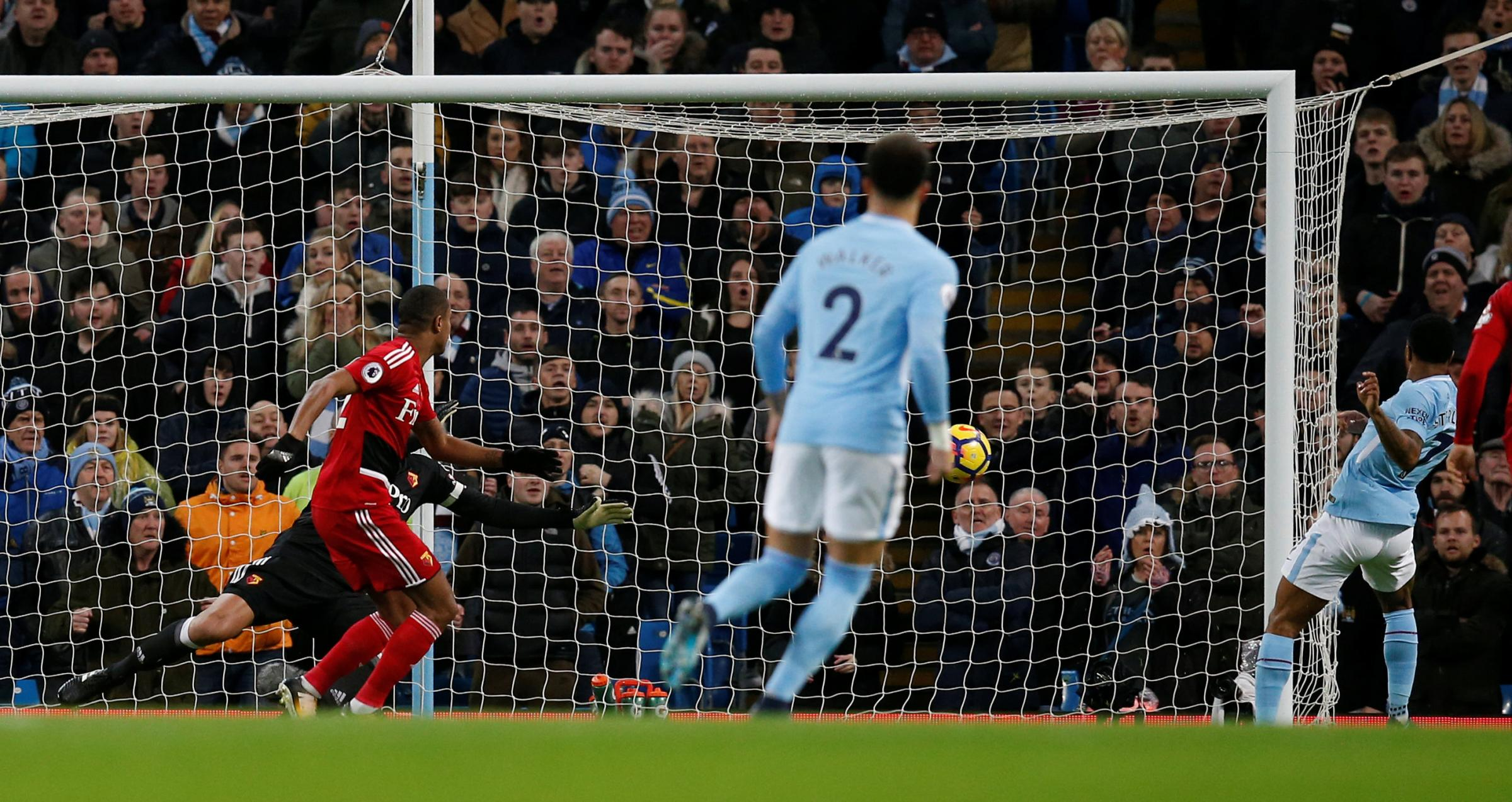 Raheem Sterling puts Watford behind with just 39 seconds on the clock. Picture: Action Images