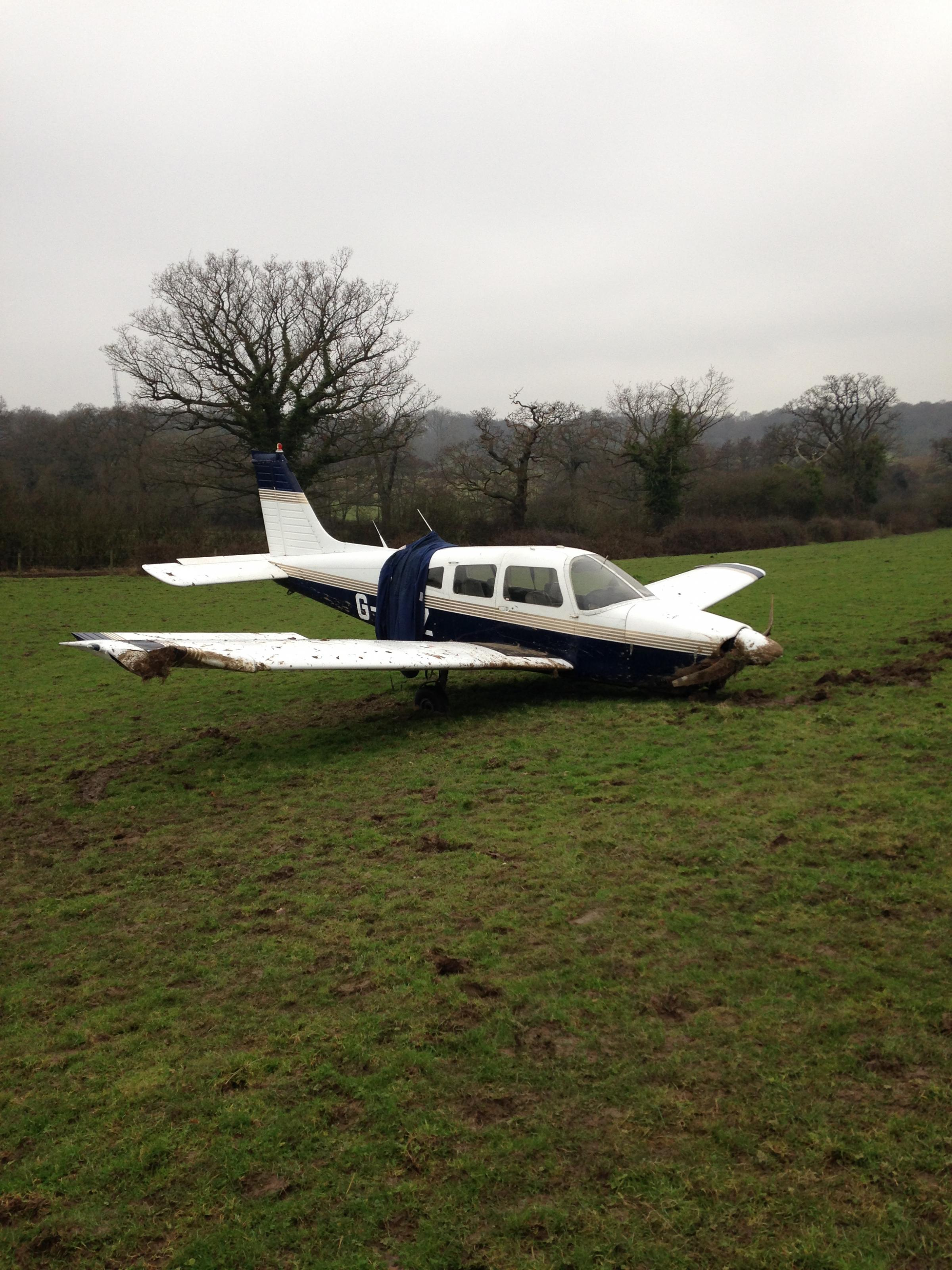 The plane came down at Grove Farm in Warren Lane, Stanmore
