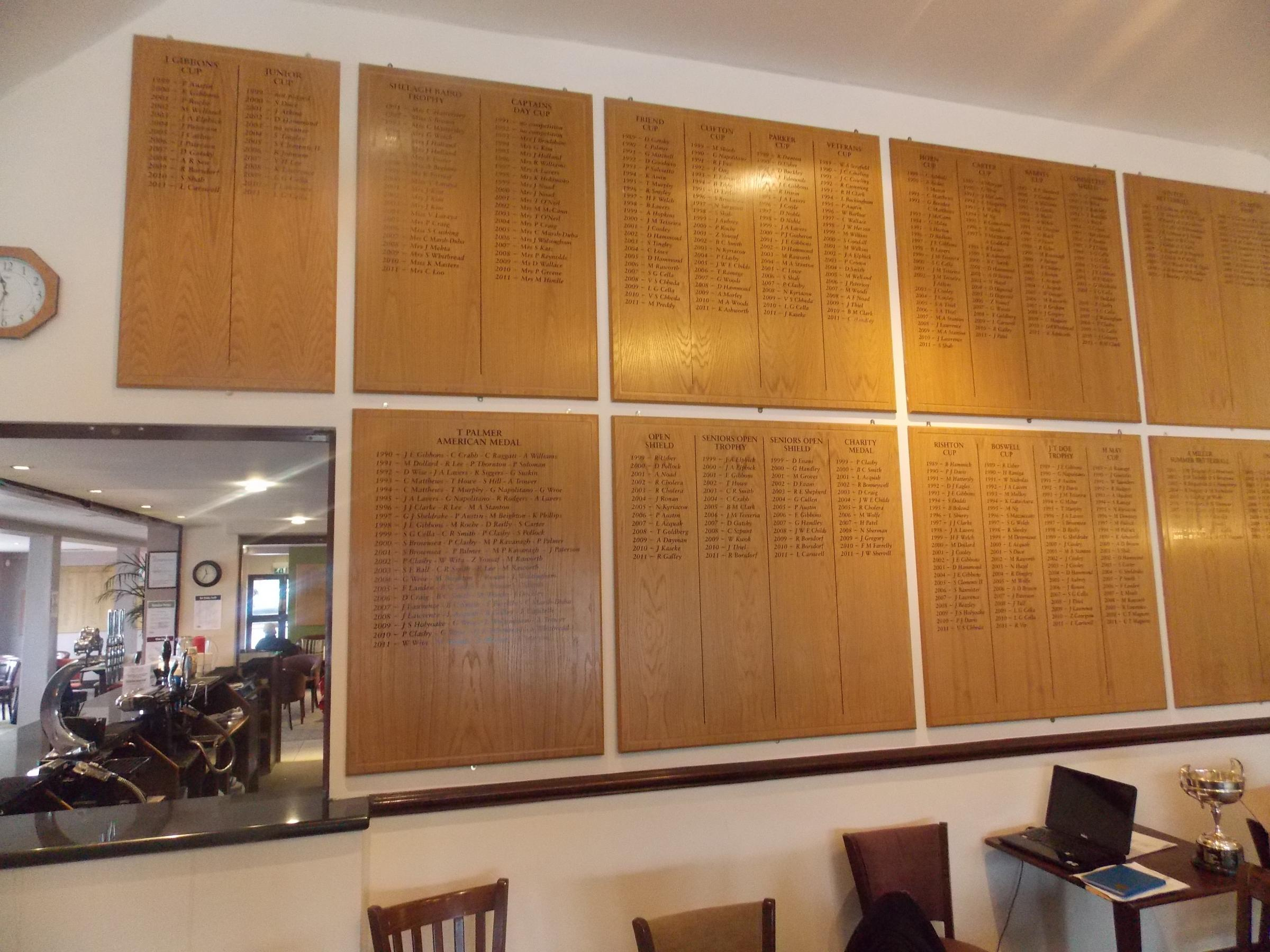 The honours boards at Haste Hill Golf Club in Northwood, before they were removed