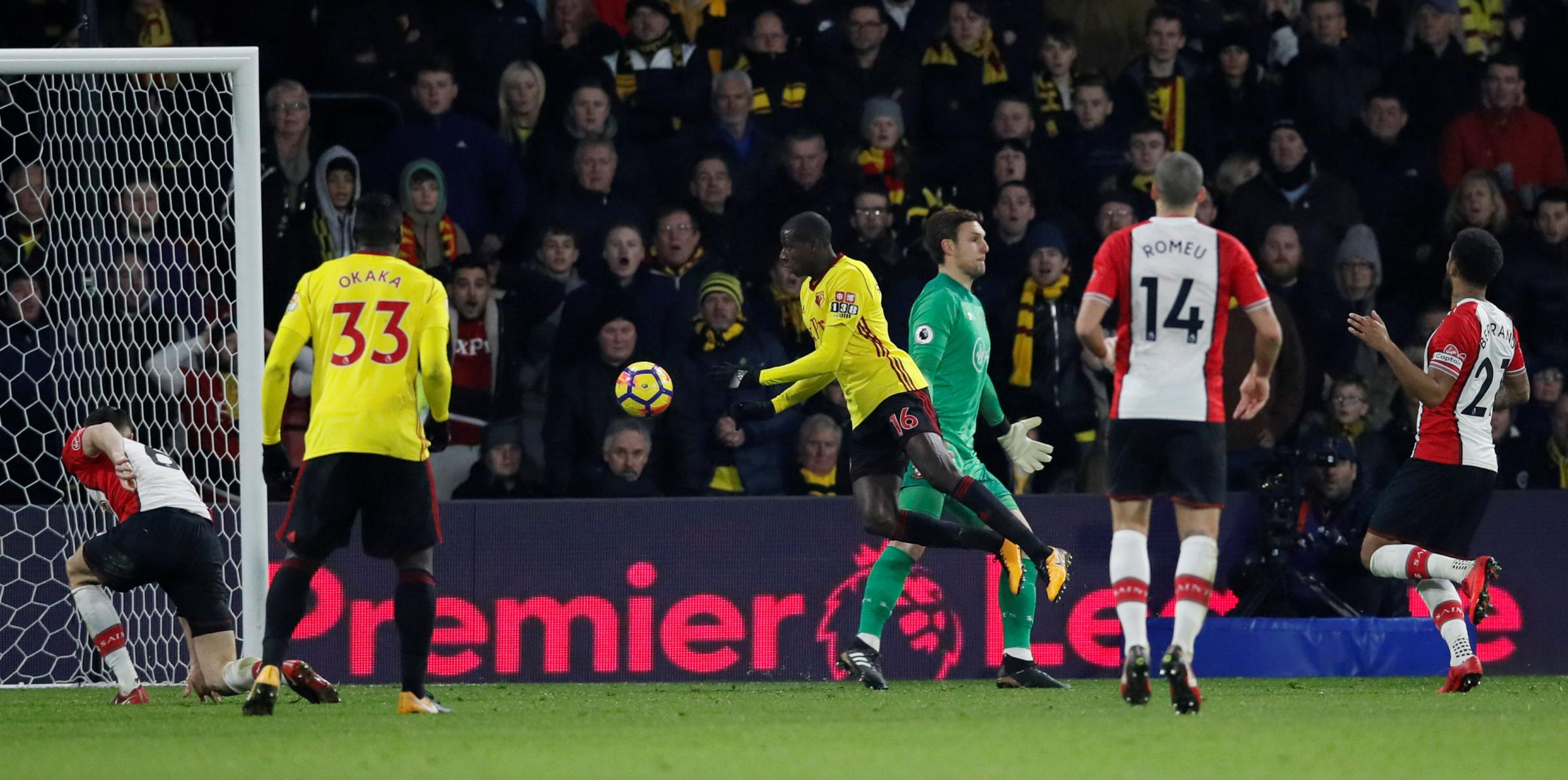 Abdoulaye Doucoure scores Watford's late equaliser. Picture: Action Images