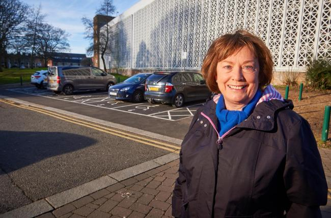 Mayor Dorothy Thornhill and new disabled car parking spaces in Church Street, Watford (Photo: Simon Jacobs)