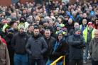 "Bombardier workers in Belfast gather for a rally at the factory gates, as a union leader warns that thousands of workers will ""flex their muscles"" if a trade ruling goes against aircraft manufacturer (Niall Carson/PA)"