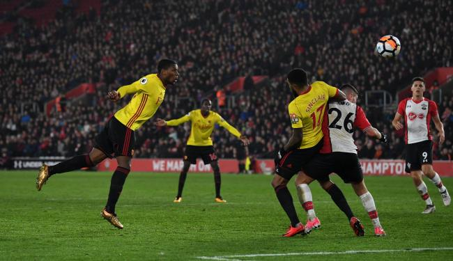 Watford's cup hopes ended with his late header which Christian Kabasele put wide. Picture: Action Images