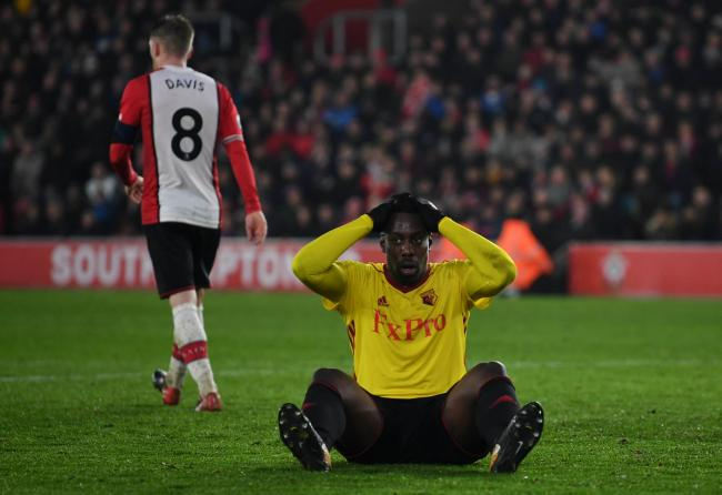 Stefano Okaka's cross into Alex McCarthy's arms ended up as one of Watford's brightest moments. Picture: Action Images