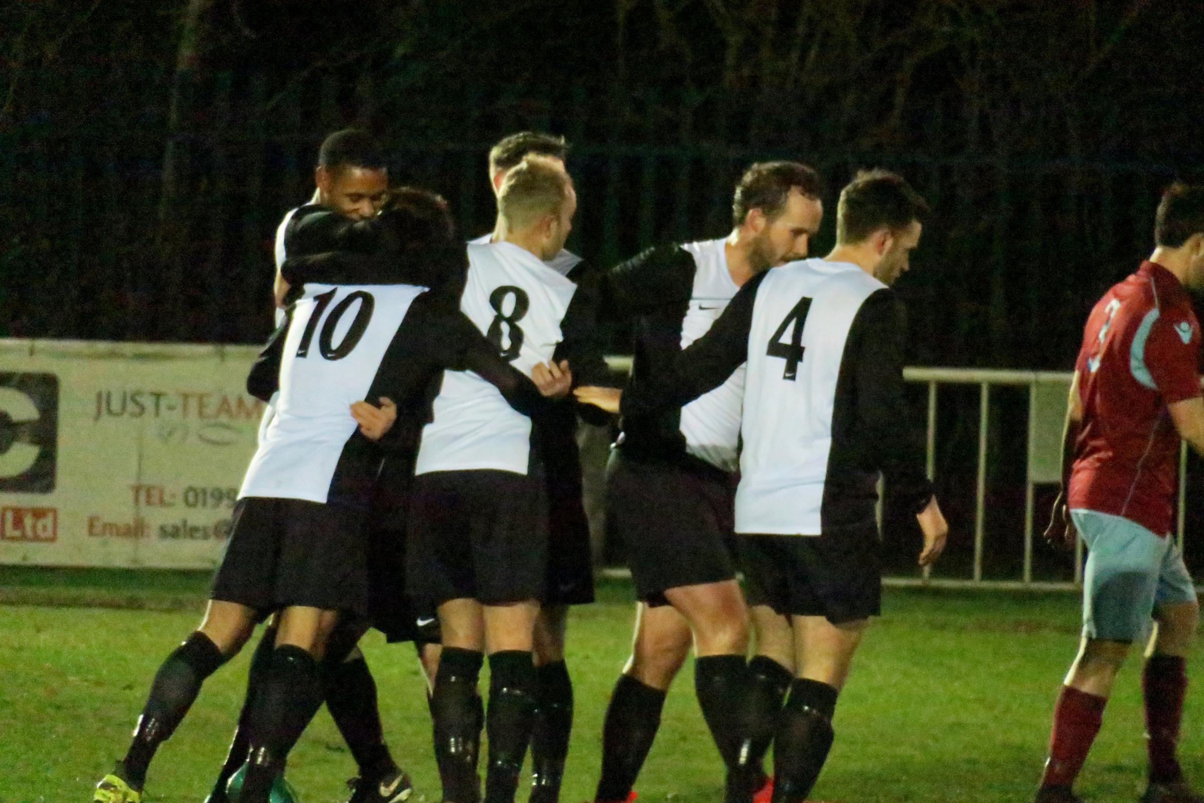 Berkhamsted celebrate taking the lead against Welwyn Garden City but their Herts Charity Shield defence was to end on Wednesday. Picture: Ray Canham