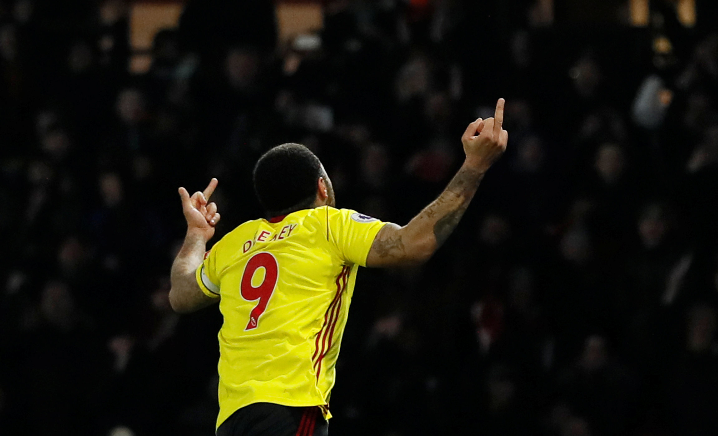 Troy Deeney celebrates scoring against Chelsea. Picture: Action Images