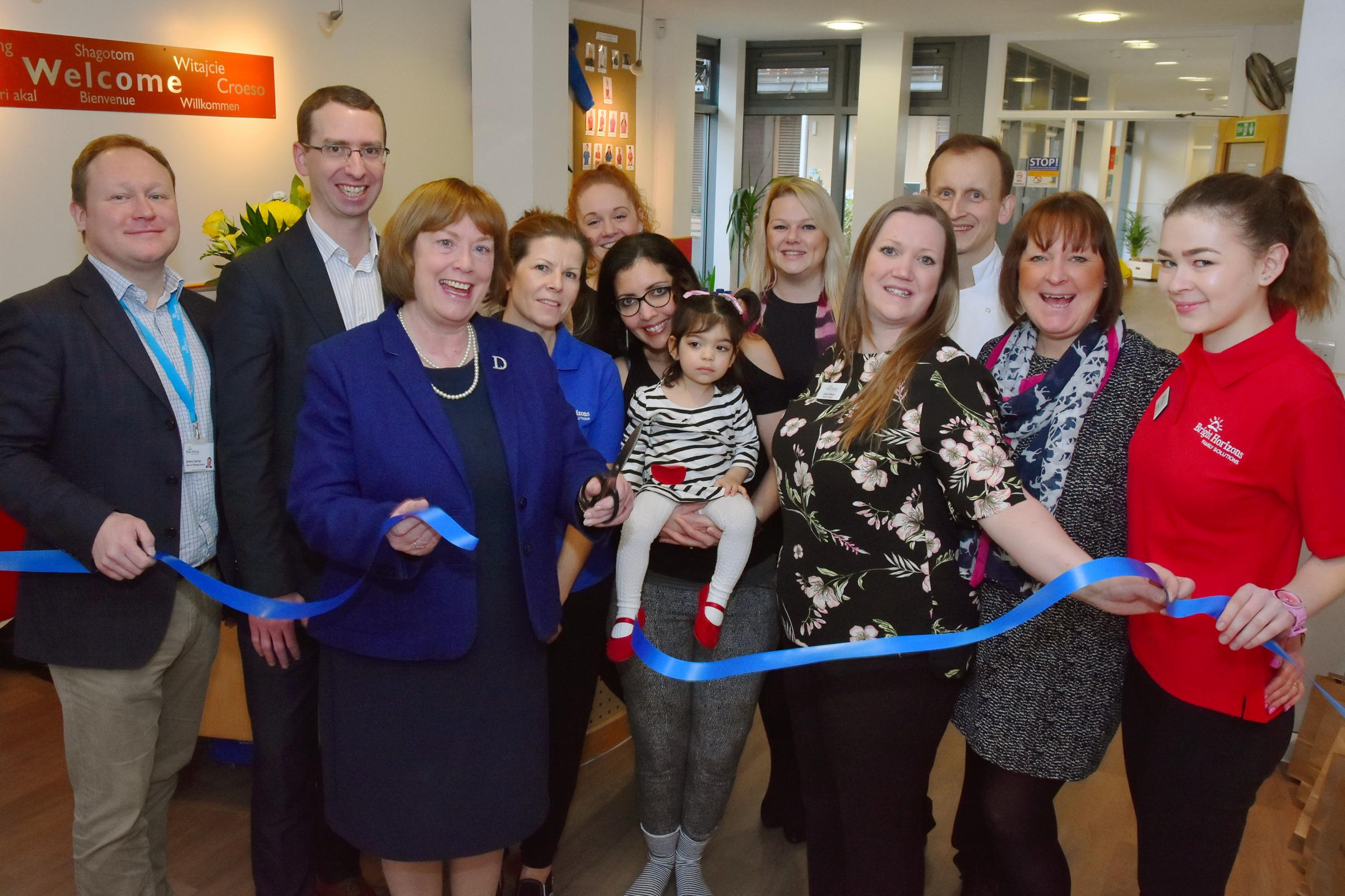 Watford Mayor Dorothy Thornhill reopens Bright Horizons Watford Day Nursery. Photo: Sam Mukadam