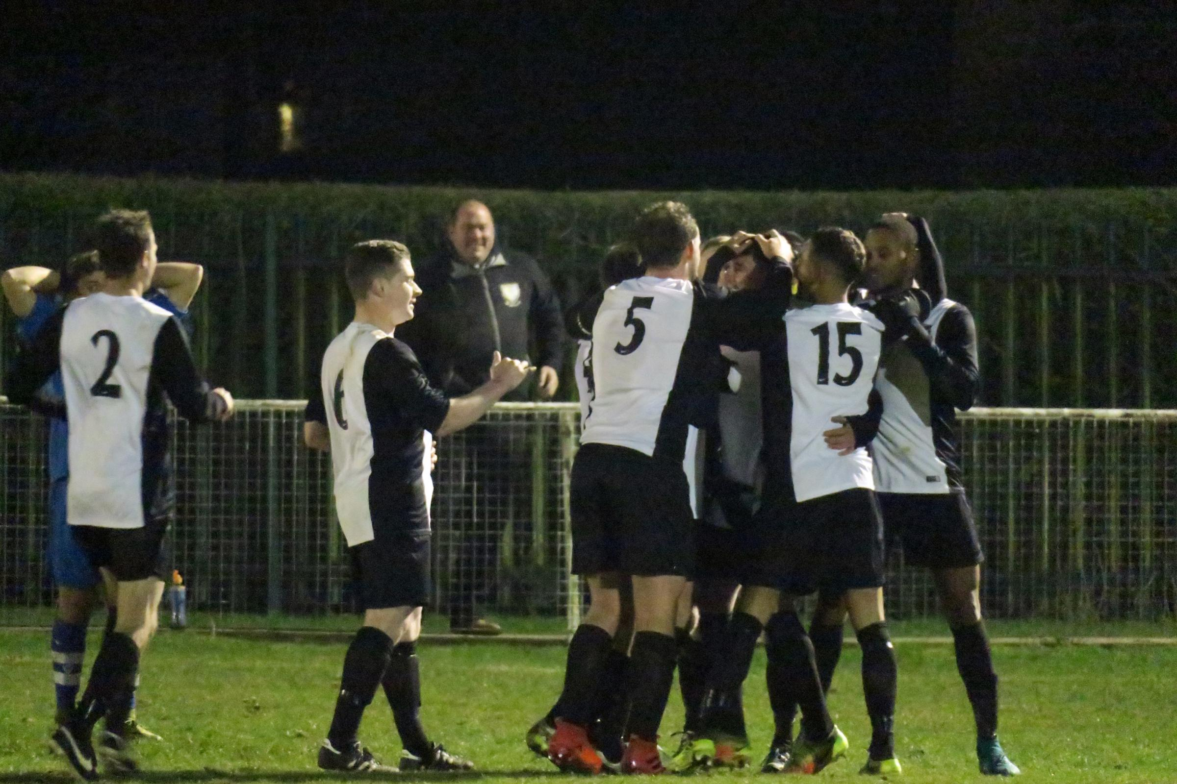 Berkhamsted celebrate Ollie Cox's winner against London Colney. Picture: Ray Canham