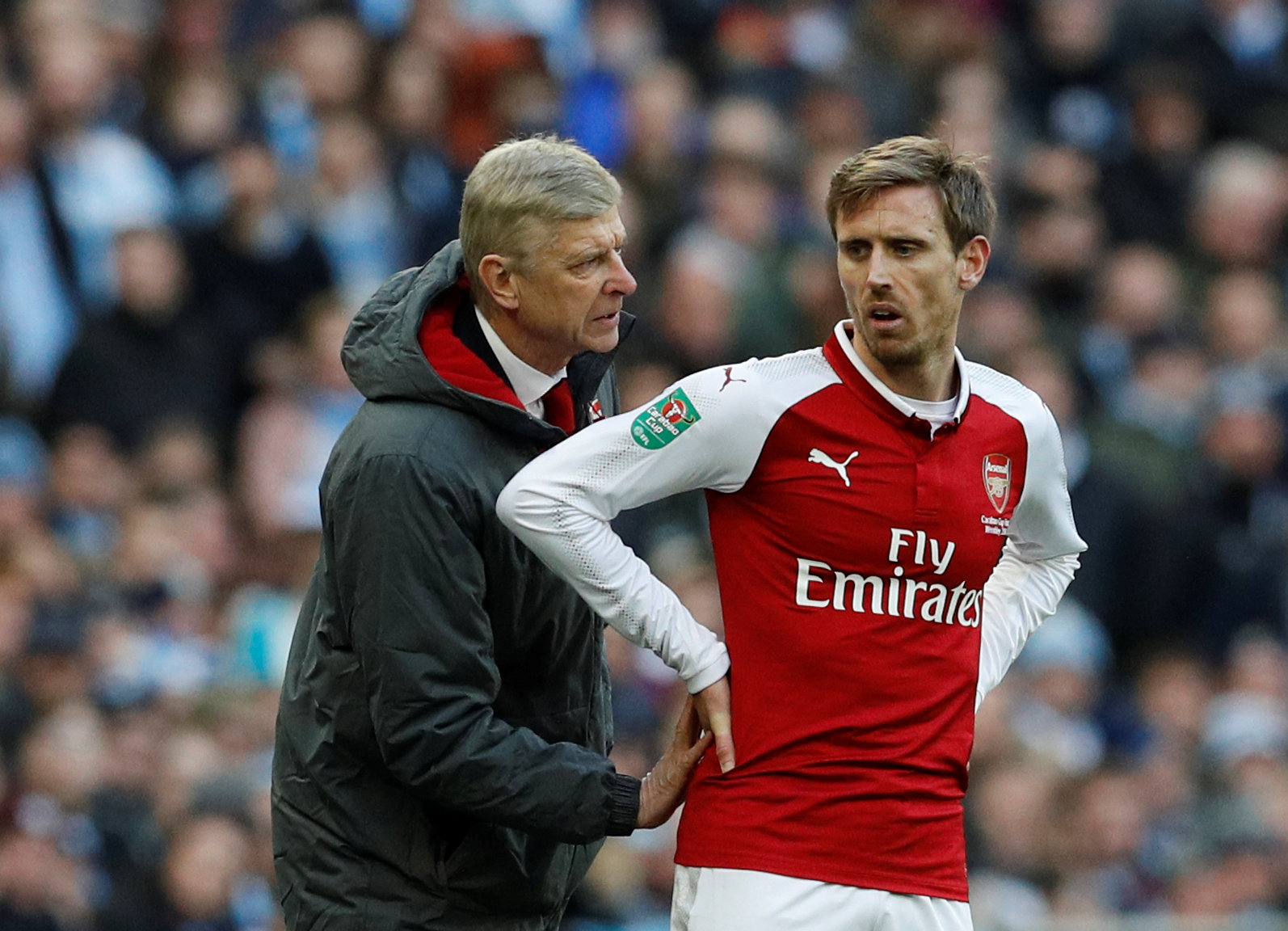 Nacho Monreal suffered a back injury against Manchester City on Sunday. Picture: Action Images