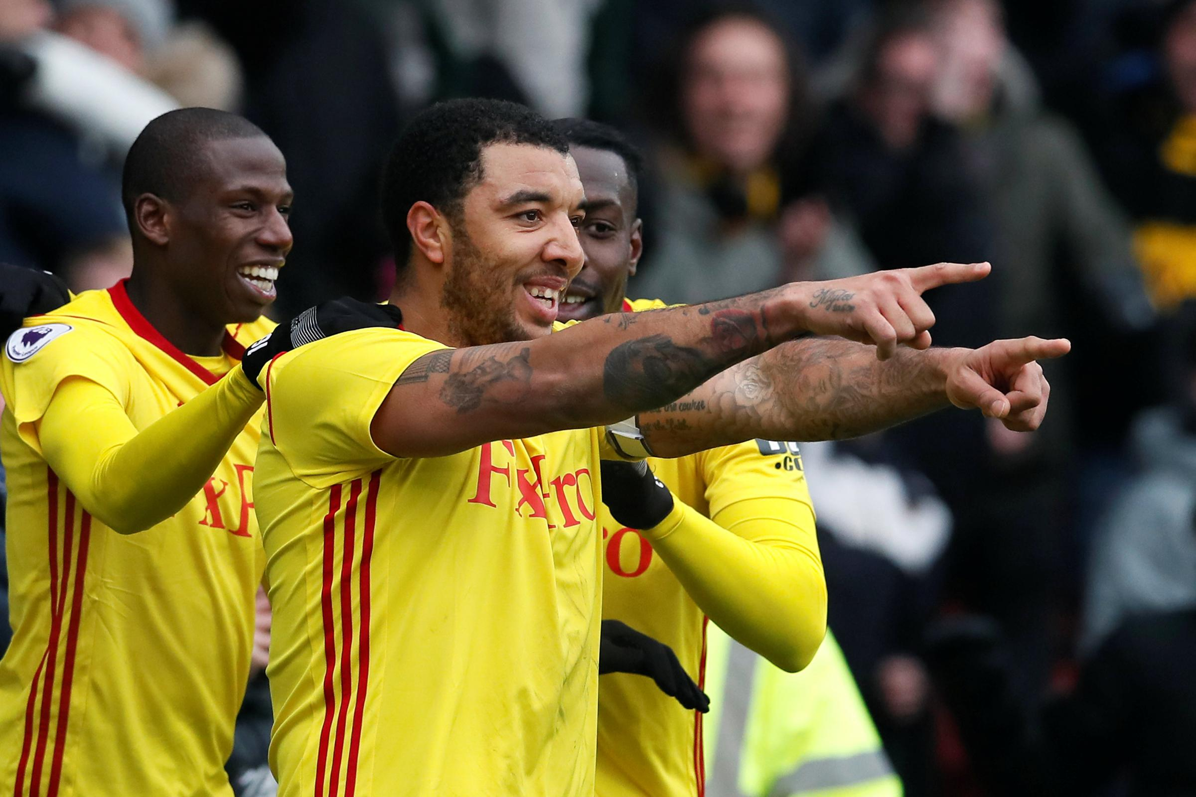 All smiles: Troy Deeney celebrates his winner against West Bromwich Albion on Saturday. Picture: Action Images