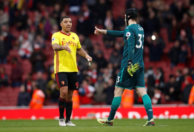 Respect: Troy Deeney congratulates Petr Cech at full-time. Picture: Action Images