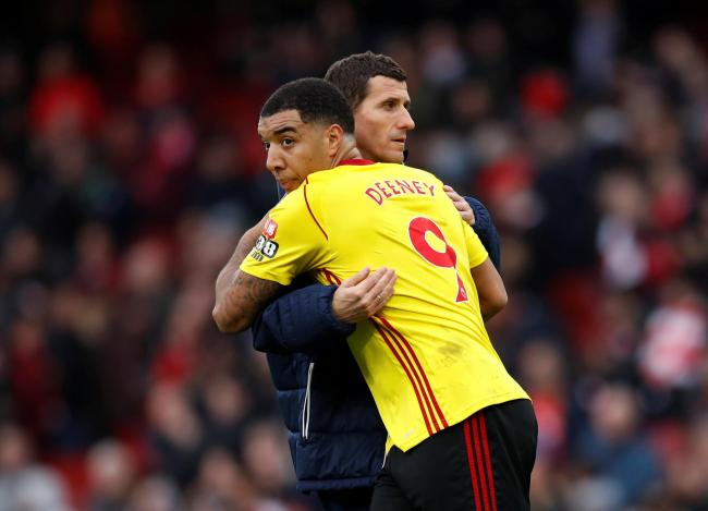 Troy Deeney embraces Javi Gracia at full-time. Picture: Action Images