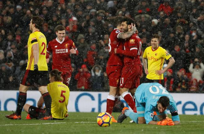 Mo Salah is congratulated after scoring his fourth. Picture: Action Images