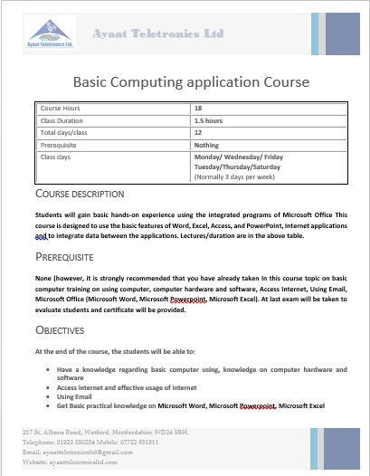 Basic computing application course