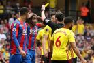Wilfried Zaha, second left, was booked at Vicarage Road for diving (Johnathan Brady/PA)