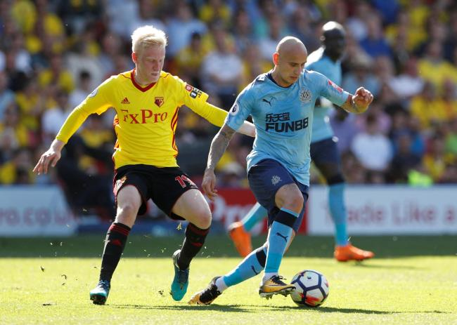 Will Hughes keeps a close eye on Jonjo Shelvey. Picture: Action Images