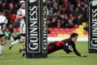 Saracens Brad Barritt scores the second try at Vicarage Road this afternoon. Picture Jane Parr