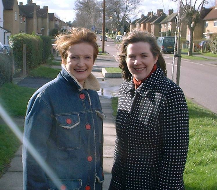 Tessa Jowell (left) in Watford with Claire Ward, former Labour MP for Watford