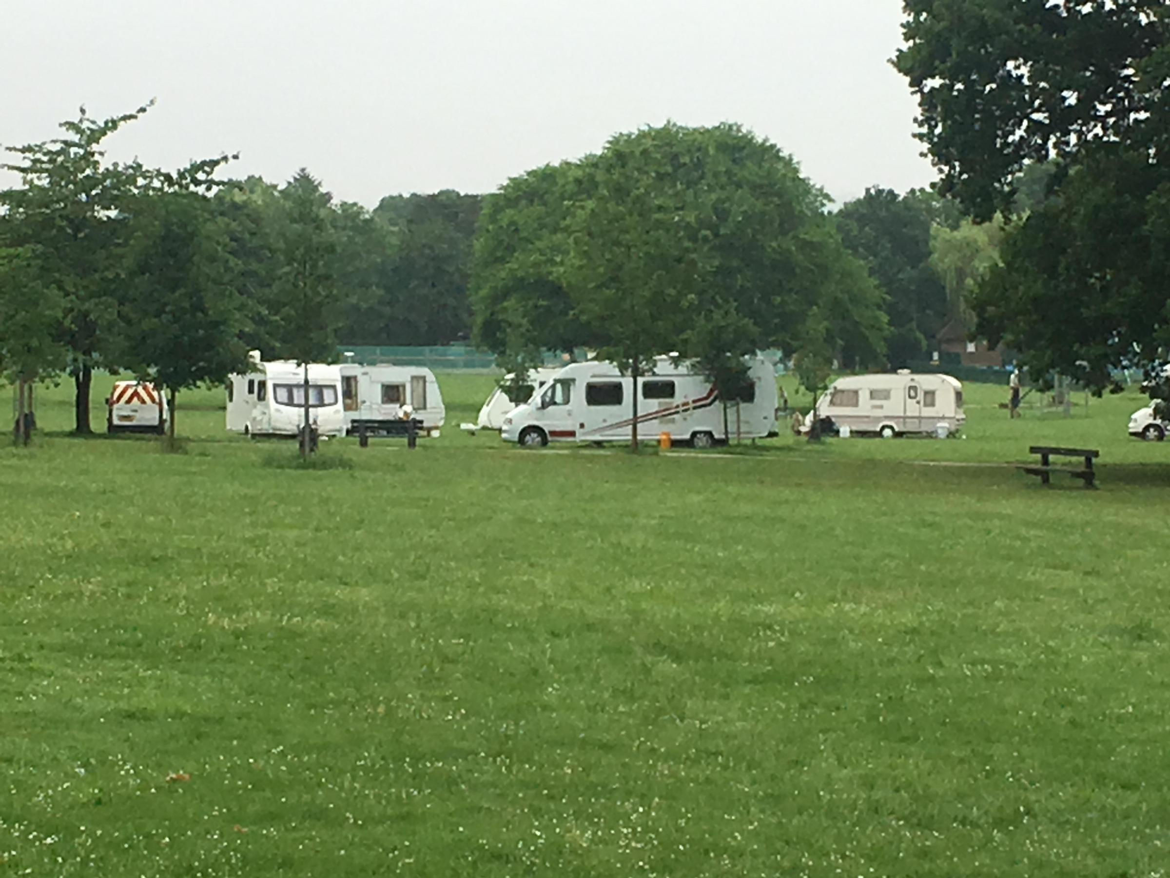 Travellers were previously camped in King George Recreation Ground, pictured last week