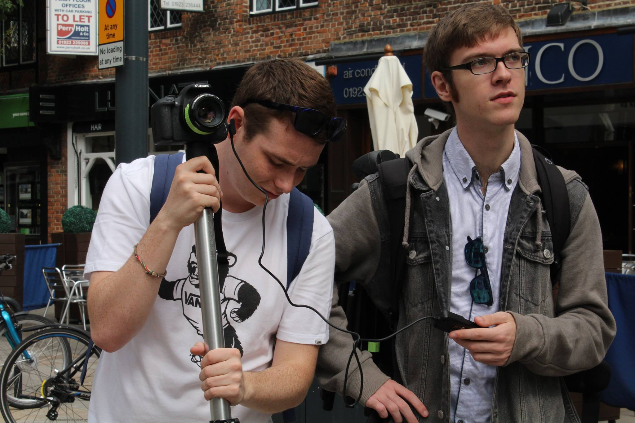 James Dyer (right) working on his own short film, Home Town, with Director of Photography Will Benson. The photo by Antonietta Reda