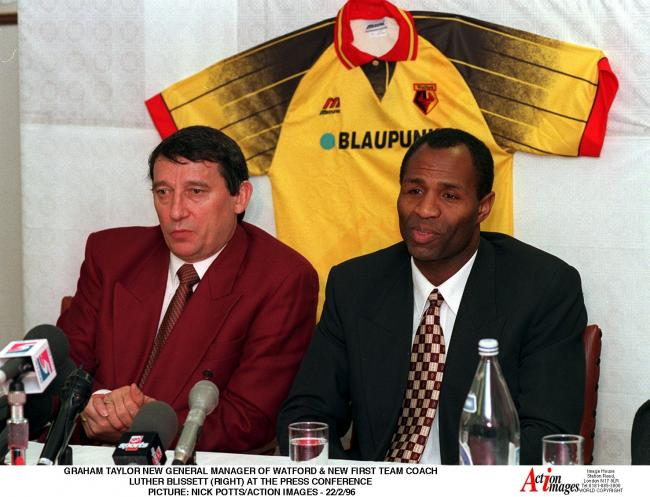 Luther Blissett and Graham Taylor. Picture: Action Images