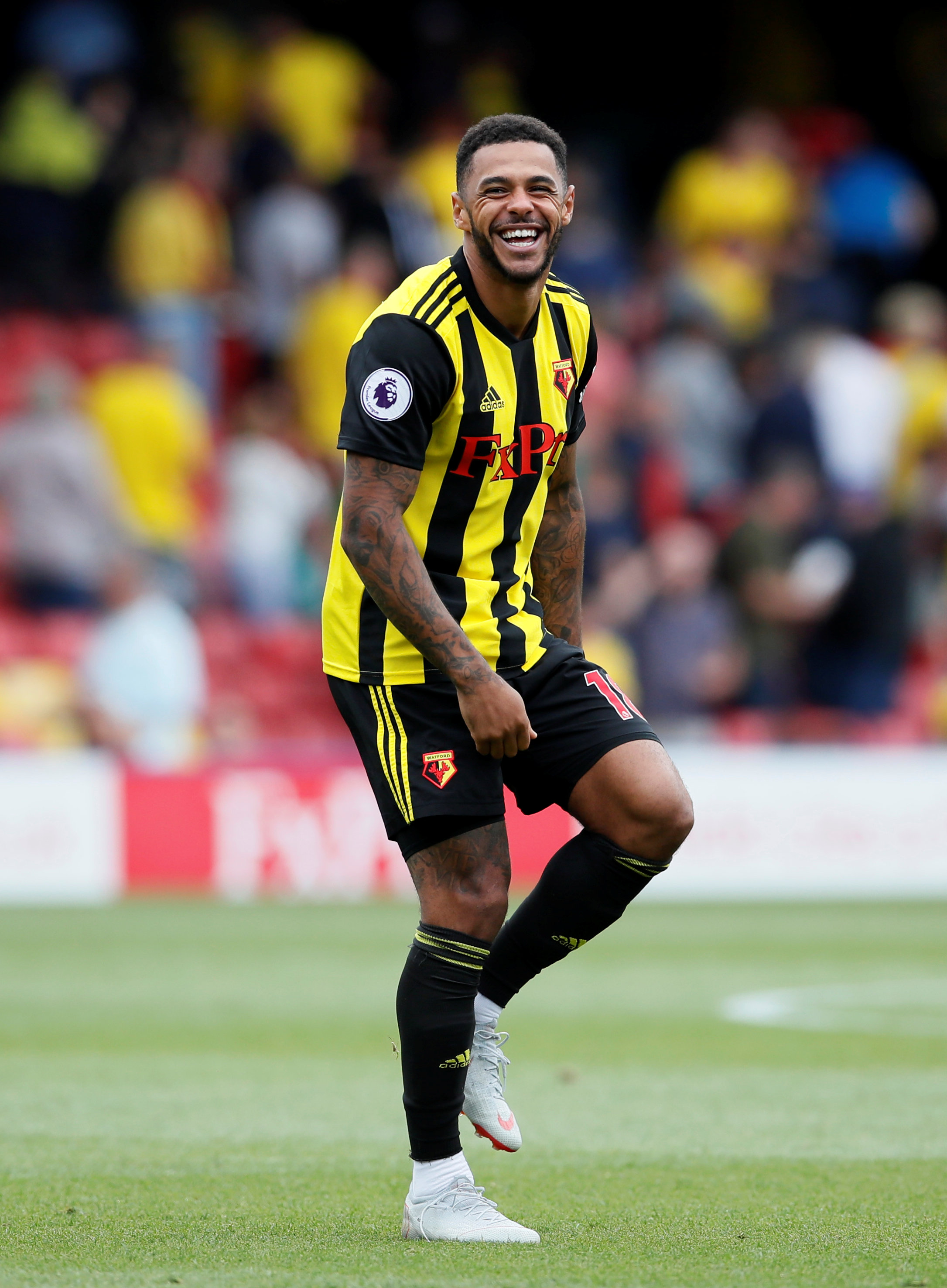 Andre Gray played alongside Troy Deeney in the victory over Brighton. Picture: Action Images