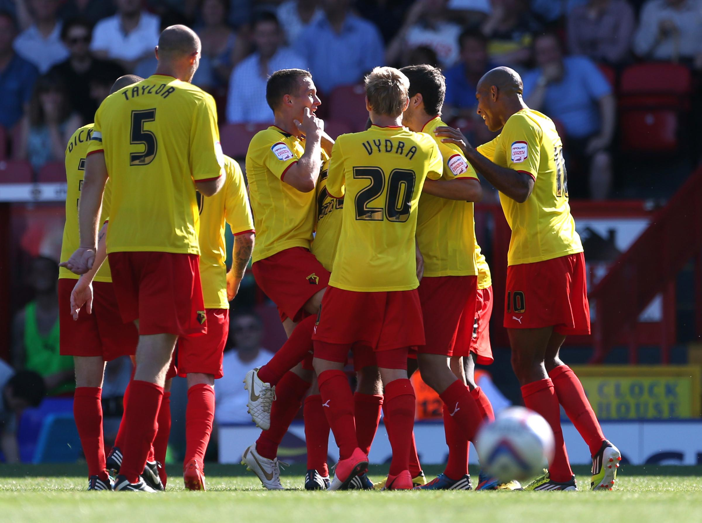 Almen Abdi celebrates scoring Watford's second goal in their opening-day victory at Crystal Palace in August 2012. Picture: Action Images