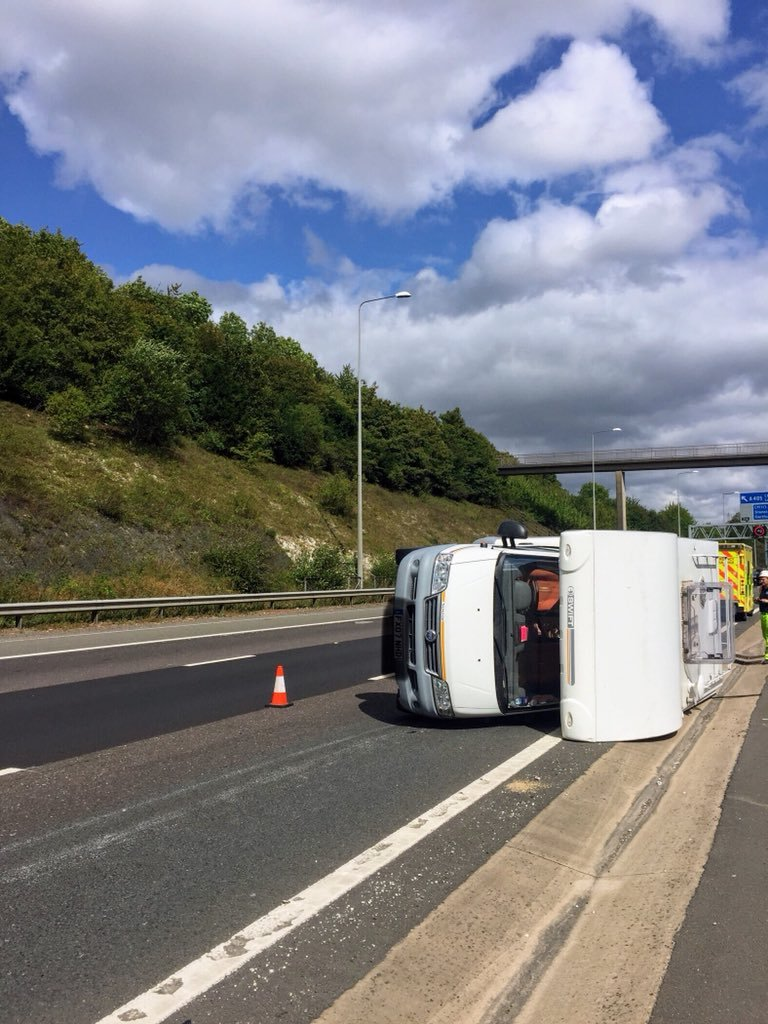 The camper van has crashed near j21 Credit: BCH Road Policing