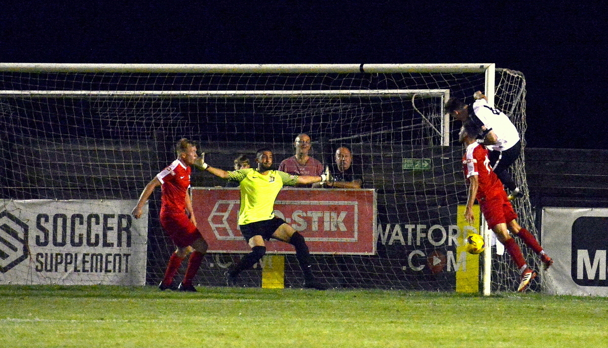 Jacob Cookl heads in Kings Langley's second goal. Picture: Len Kerswill