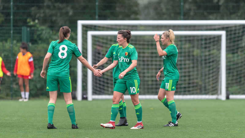 Back among the goals: Helen Ward celebrates scoring in pre-season. Picture: AW Images