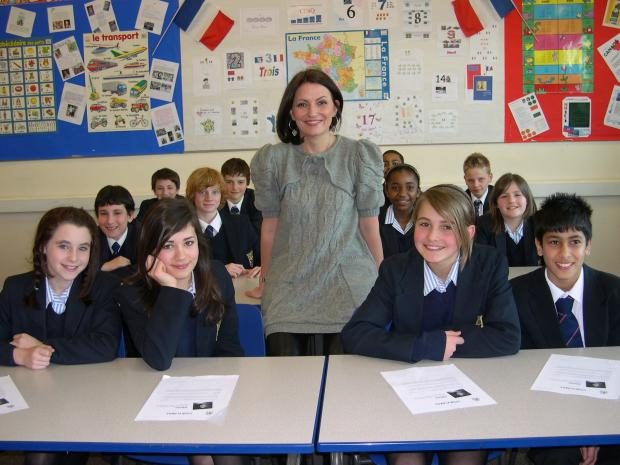 Davina McCall visited Parmiter's School after pupils raised record amounts of money for Comic Relief.