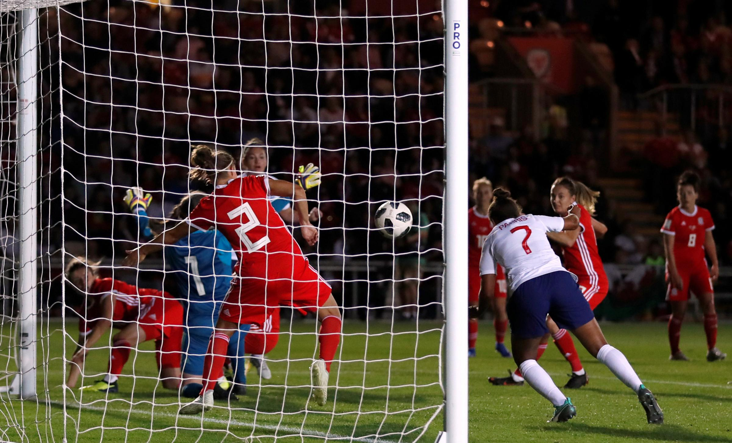 Nikita Parris confirms the Lionesses' place in France by heading in the third goal. Picture: Action Images