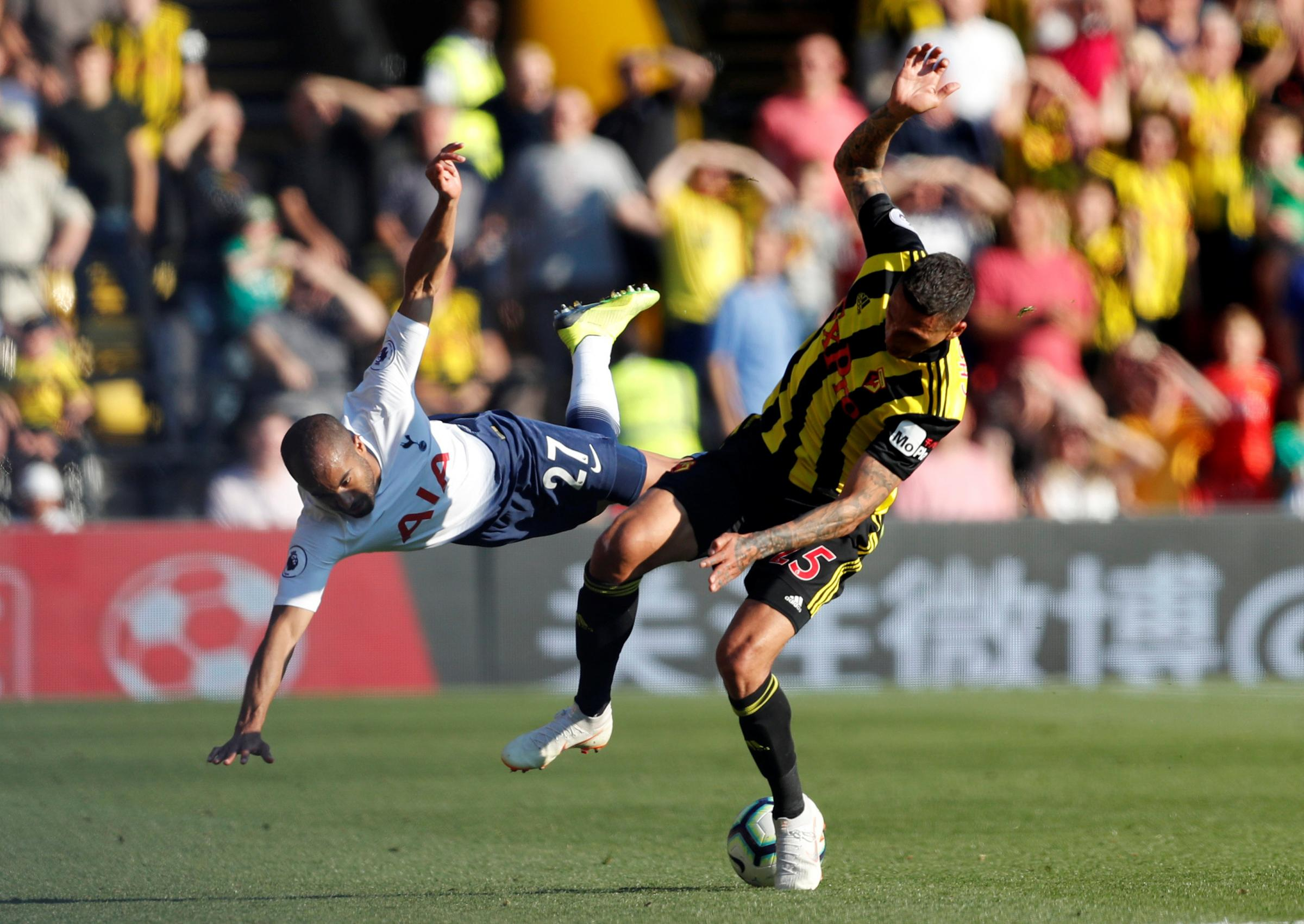 Jose Holebas provided both assists in Watford's 2-1 defeat of Tottenham Hotspur. Picture: Action Images