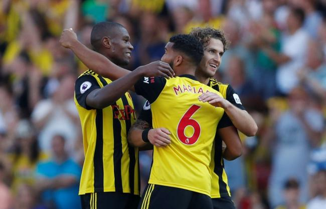 Watford's players celebrate their win over Spurs. Picture: Action Images