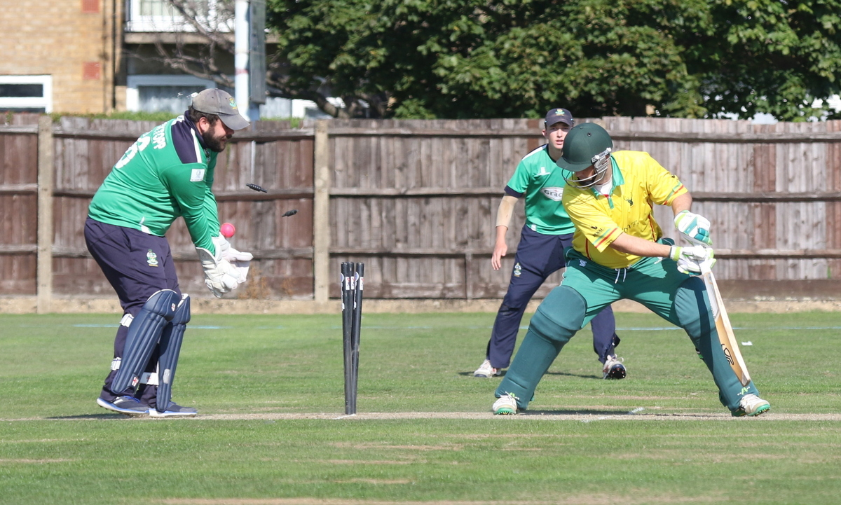 West Herts lose w wicket during their disappointing end to the campaign on Saturday. Picture: Len Kerswill