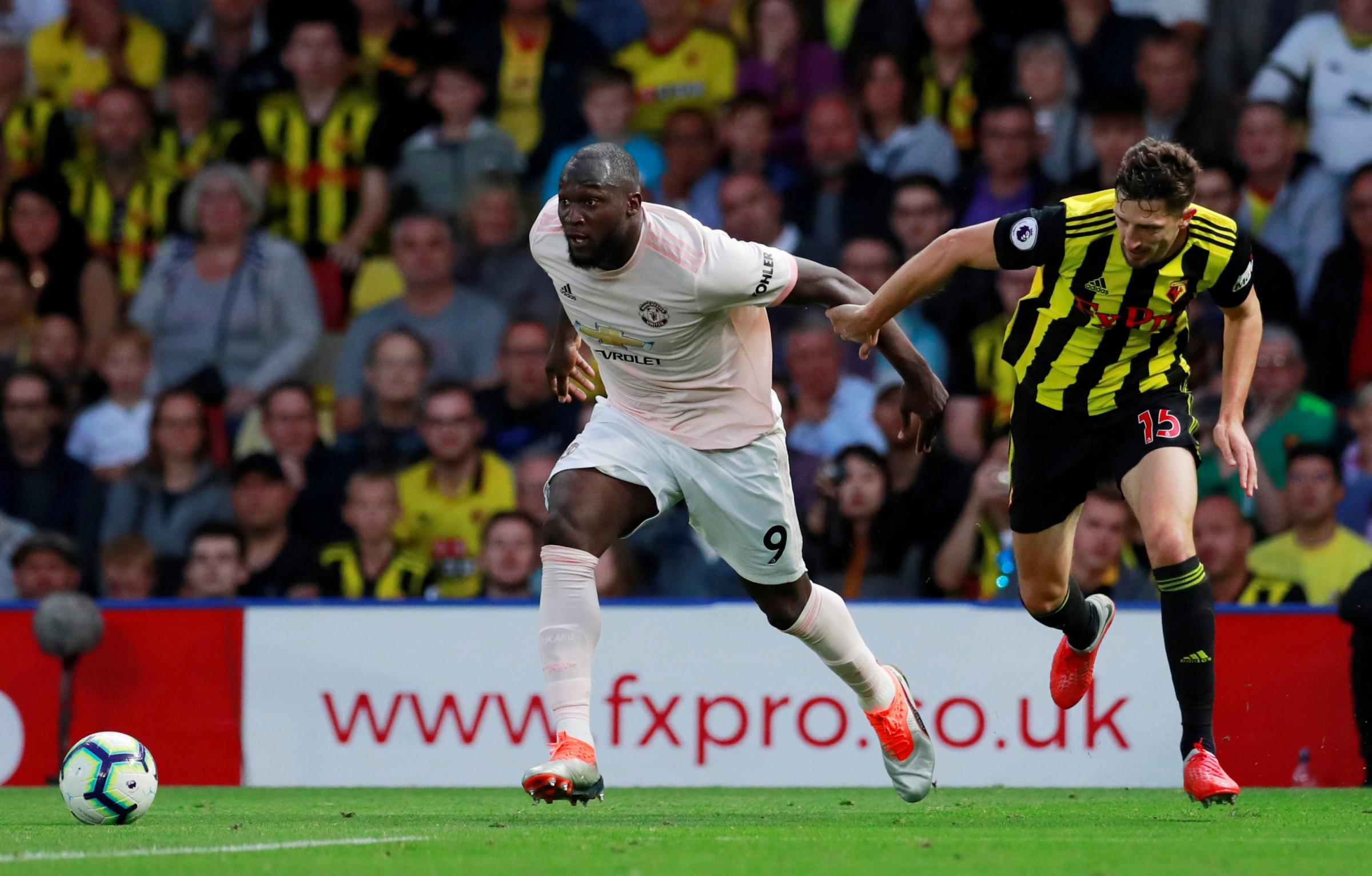 Craig Cathcart competes with Romelu Lukaku for possession. Picture: Action Images