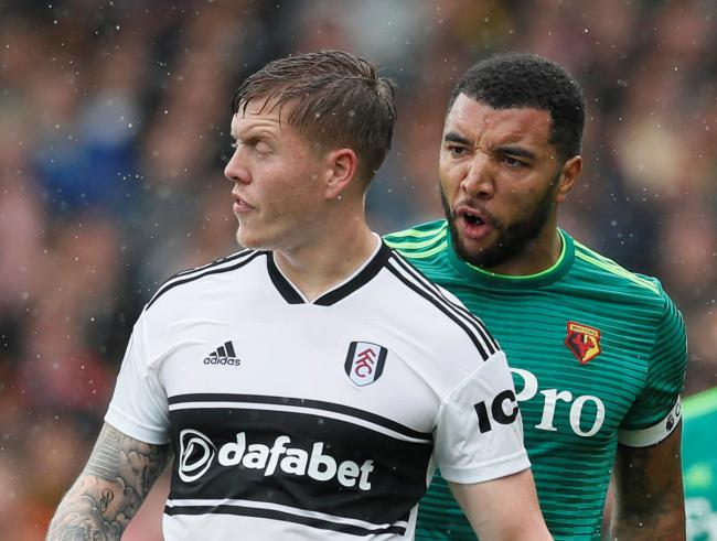 Troy Deeney gave Fulham's Alfie Mawson a testing afternoon on Saturday. Picture: Action Images