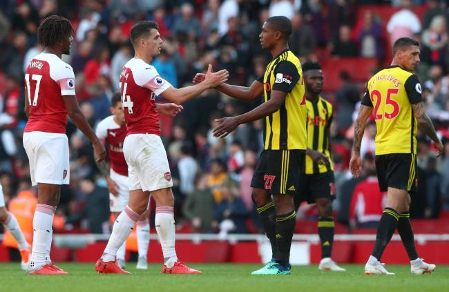 Christian Kabasele impressed in Watford's 2-0 defeat to Arsenal. Picture: Action Images