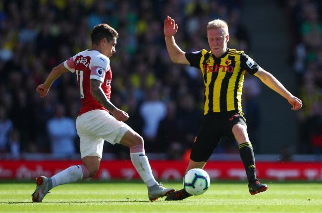Will Hughes was left to rue Watford's inability to take their chances against Arsenal. Picture: Action Images.