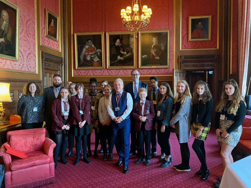 The debating teams with Mr Bercow and Mr Harrington