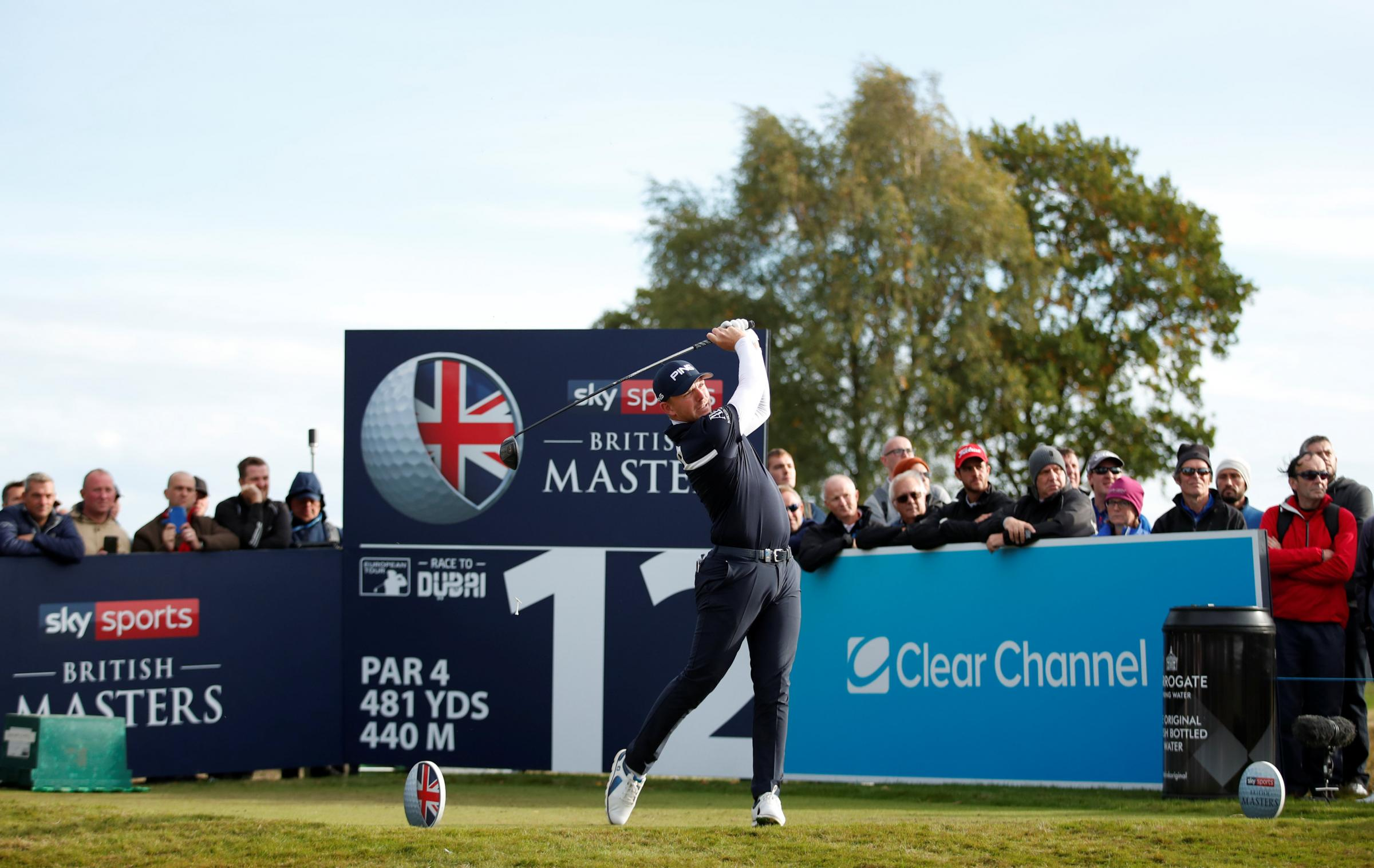 Matt Wallace tees off at the 12th yesterday. Picture: Action Images