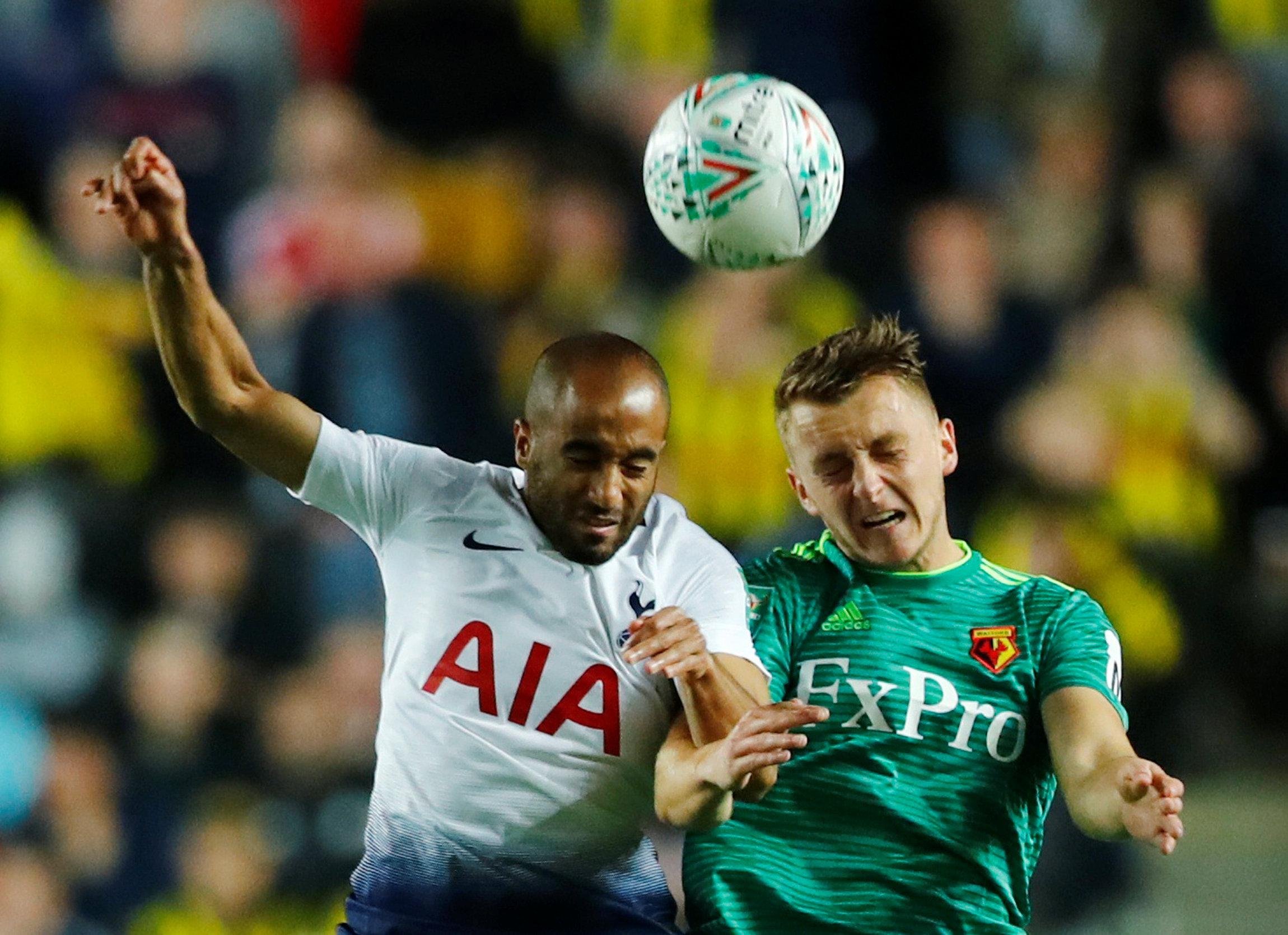 Ben Wilmot in action against Lucas Moura in the Carabao Cup tie with Tottenham Hotspur. Picture: Action Images