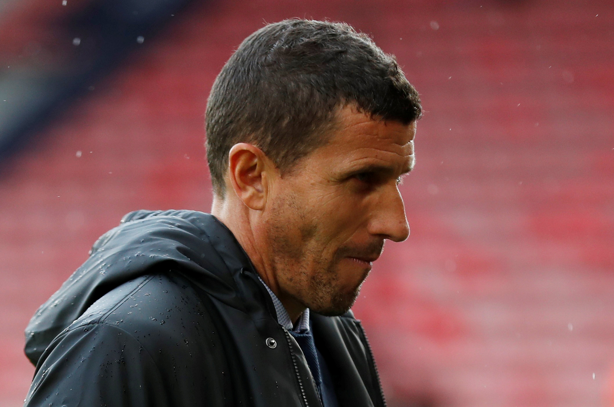 Javi Gracia at a soggy St Mary's Stadium this afternoon. Picture: Action Images