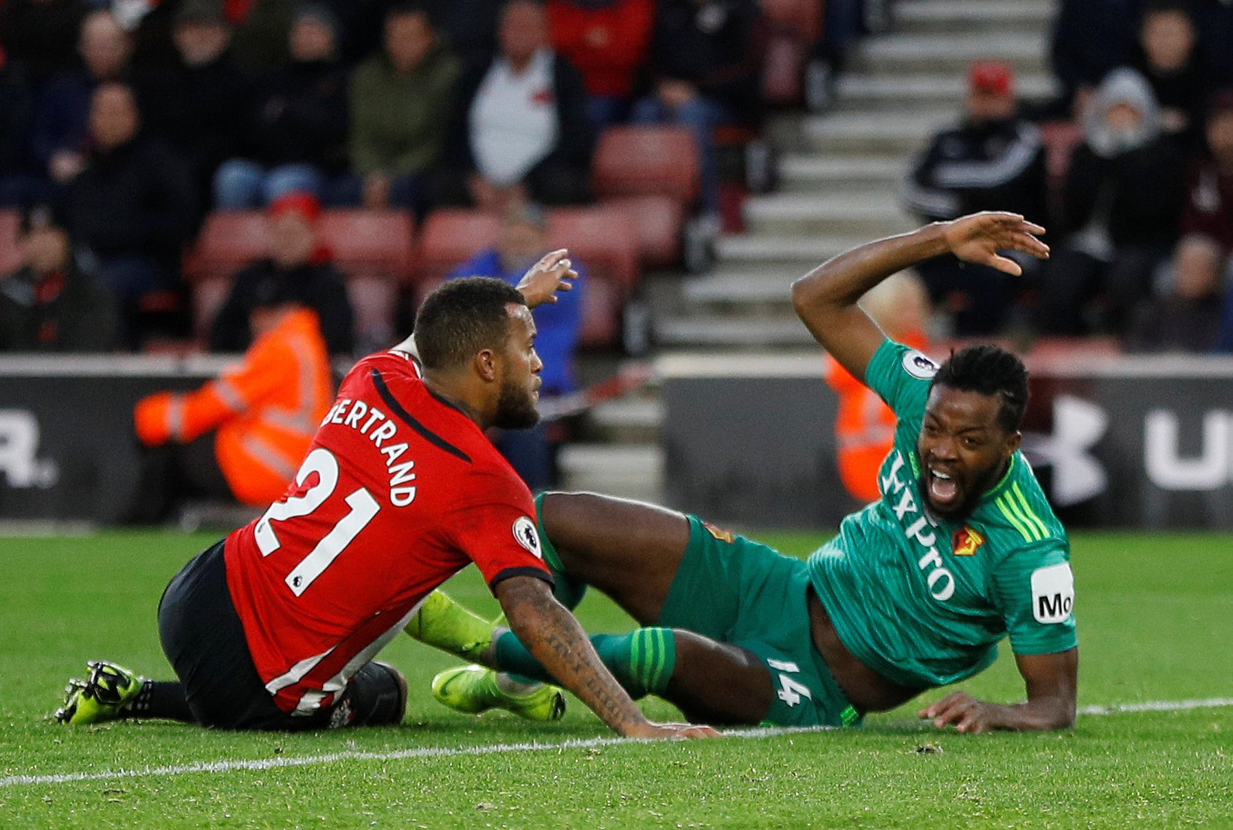 Nathaniel Chalobah is sent sprawling at St Mary's. Picture: Action Images