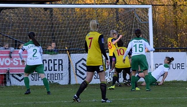 Danielle Scanlon (number 18) forces the ball home to score Watford's winner. Picture: Len Kerswill