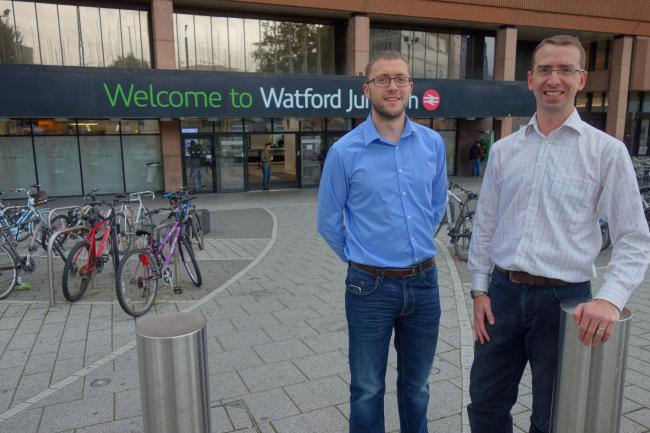 Ian Stotesbury (left) and Peter Taylor (right) outside Watford Junction station