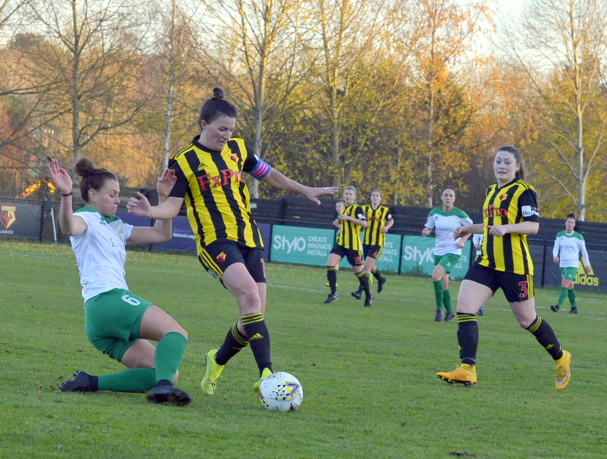 Helen Ward evades a challenge in Sunday's victory over Chichester City. Picture: Len Kerswill