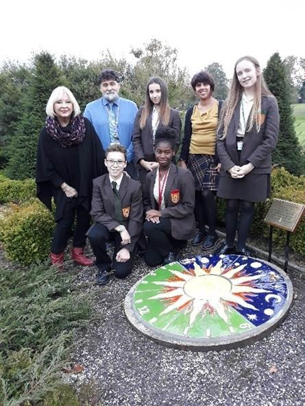The new sundial. Students Nathan Evans, Bethany Howard, Grace Mandal, Harriet Joseph with teacher Clare Peres Da Costa